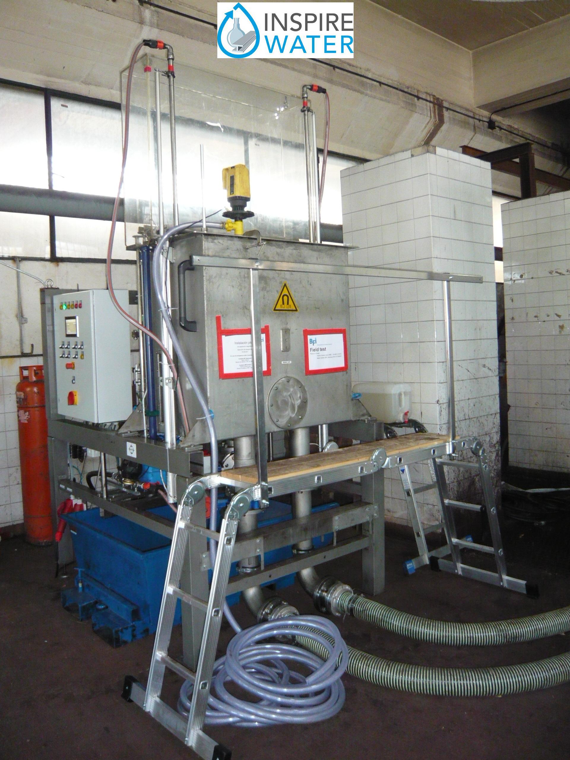 Mobiler Magnetabscheider (50 m³/h) im Betriebsversuch